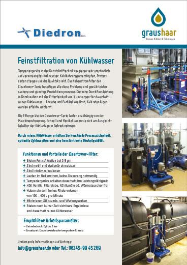 Graushaar GmbH | Bild Flyer über Einsatz der Feinstfiltertechnik von Diedron in der Kunststofftechnik