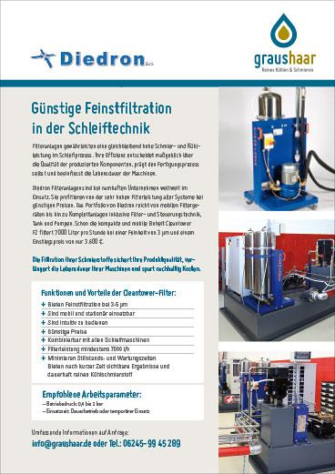Graushaar GmbH | Bild Flyer über Einsatz der Feinstfiltertechnik von Diedron in der Schleiftechnik