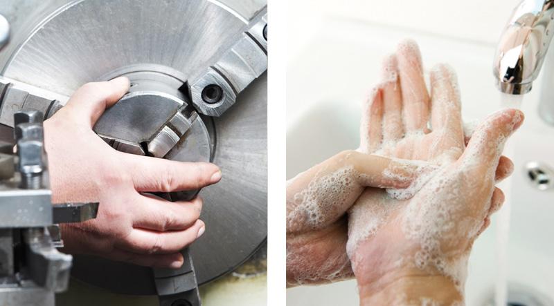 Aufspannen Werkstück und richtiges Händewaschen