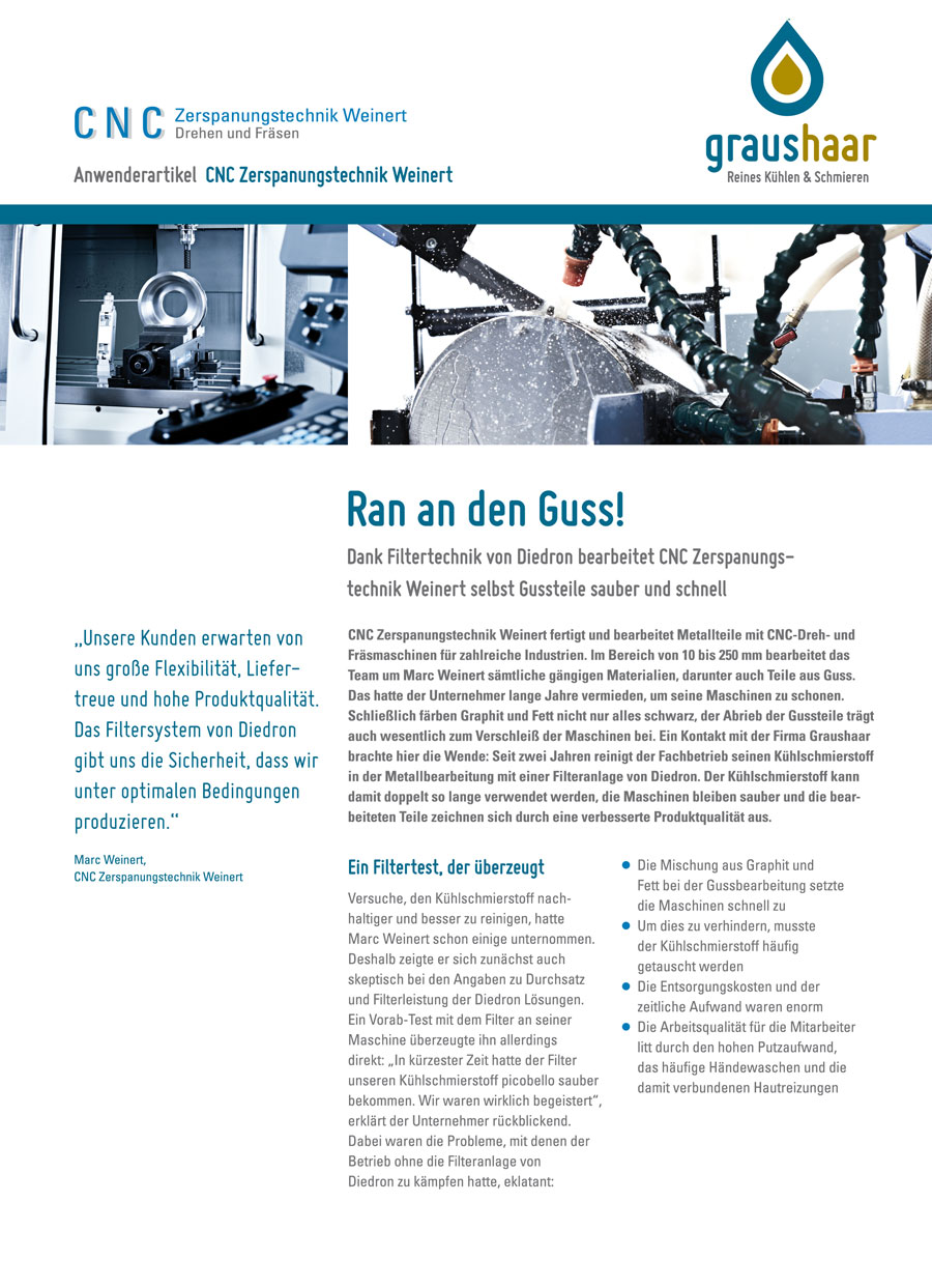 Graushaar GmbH |Diedron | Anwenderbericht Filtration Kühlschmierstoff