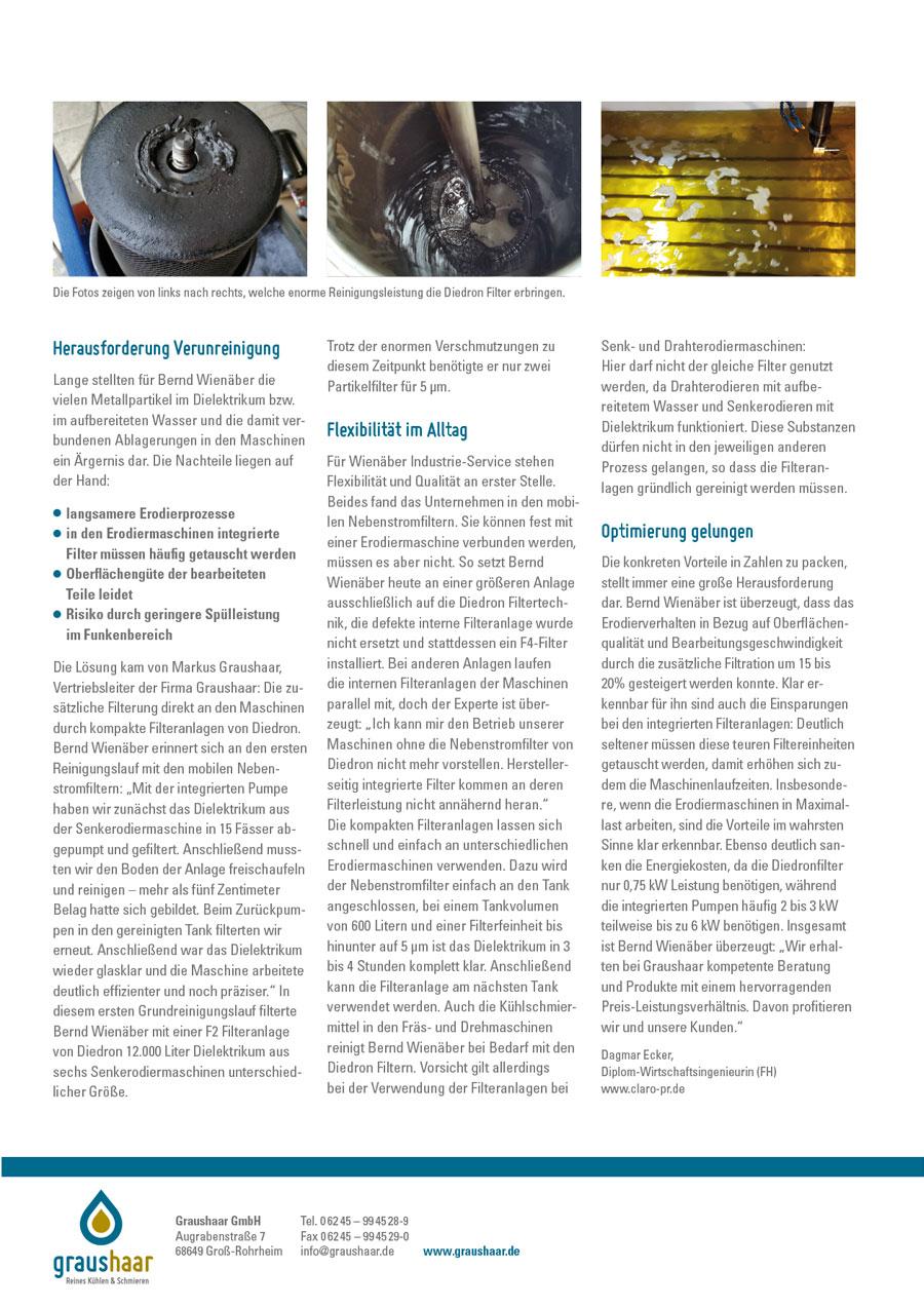 Graushaar GmbH | Diedron | Anwenderbericht Filtration Erodieren