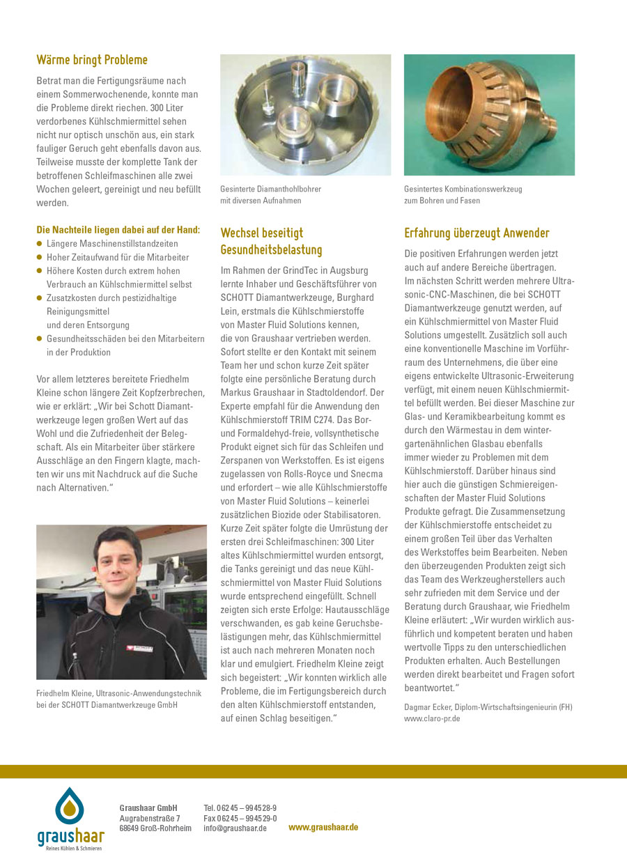 Graushaar GmbH | Master Fluid Solutions | Anwenderbericht Kühlschmierstoff