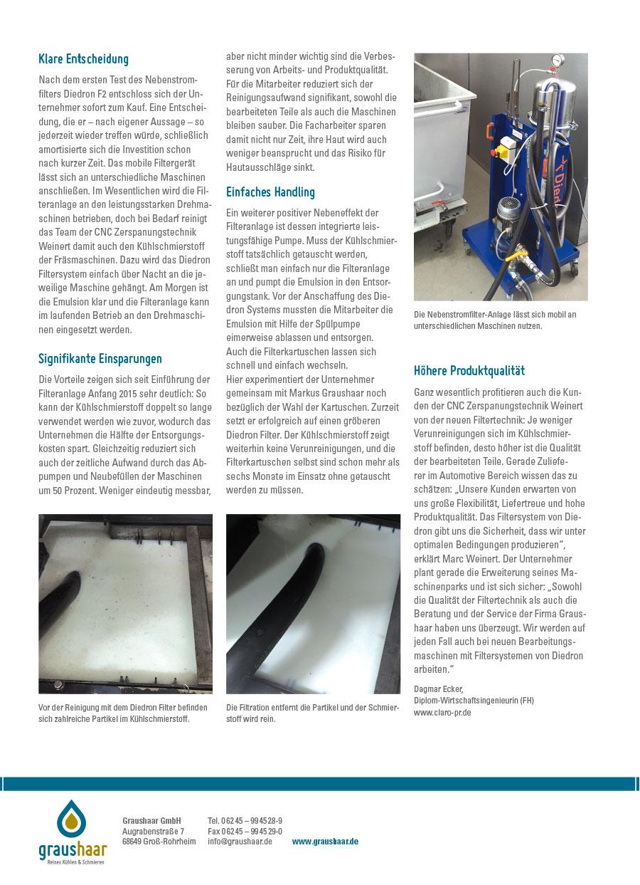Graushaar GmbH |Diedron | Anwenderbericht Filtration Kühlaschmierstoff