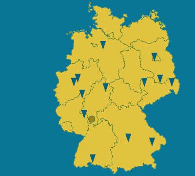 Deutschlandkarte mit regionalen Mitarbeitern und Partnern der Graushaar GmbH