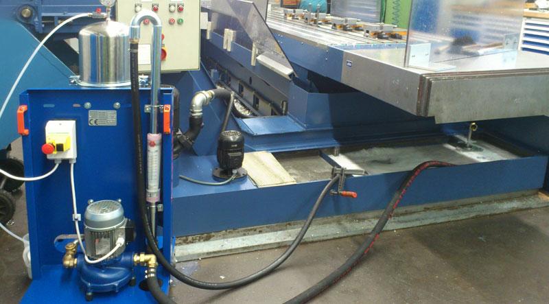 Diedron F2 , Filtration von Kühlschmierstoff bei 5µm im Nebenstrom während Maschine in Betrieb